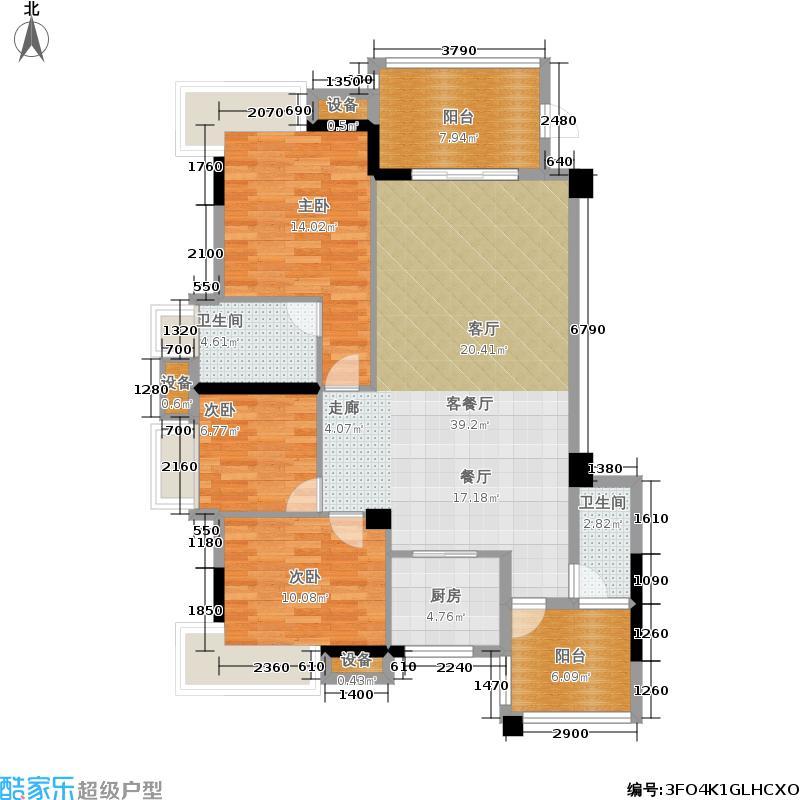海博一品132.00㎡3栋1梯1号房户型