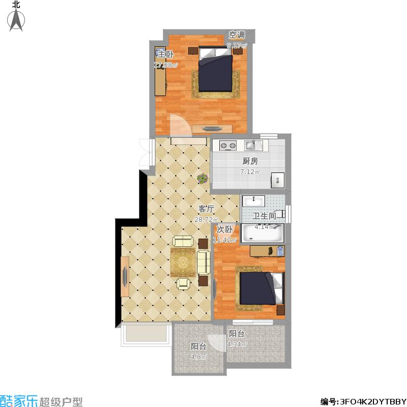 天水滨江99平A1户型两室两厅