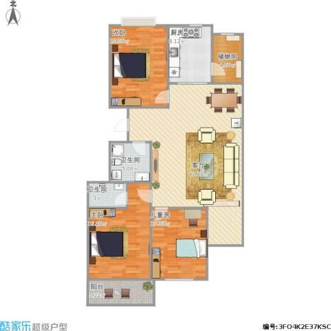 长治县阳光花园3室1厅2卫1厨153.00㎡户型图