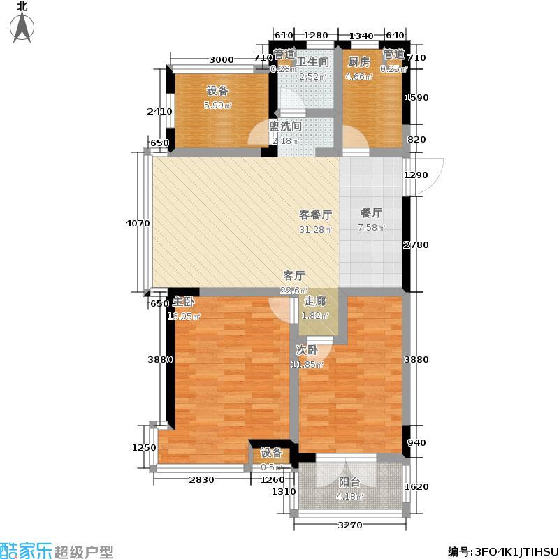广厦天都城蓝调公寓90.00㎡2#4#G户型2室2厅