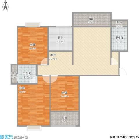 罗马景福城3室1厅2卫1厨161.00㎡户型图