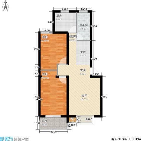 阳光水岸2室0厅1卫1厨90.00㎡户型图