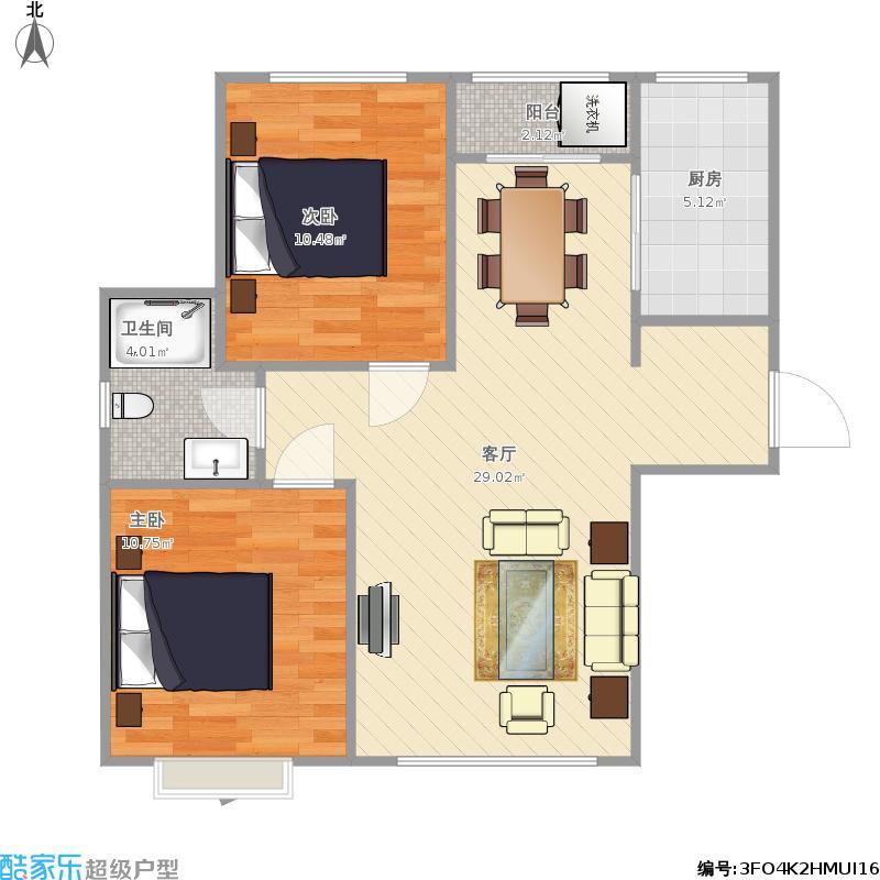B10#F户型两室两厅