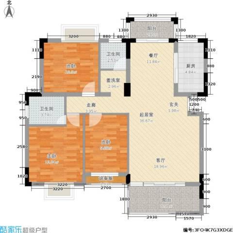 张家围17号花园3室0厅2卫1厨129.00㎡户型图