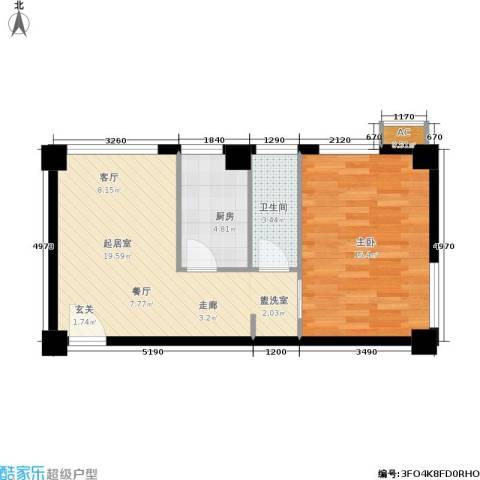 旺角花园1室0厅1卫1厨50.00㎡户型图