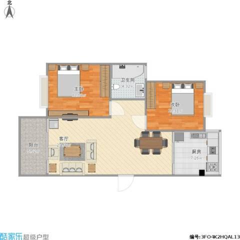 大华阳城五期阳城书院2室1厅1卫1厨90.00㎡户型图