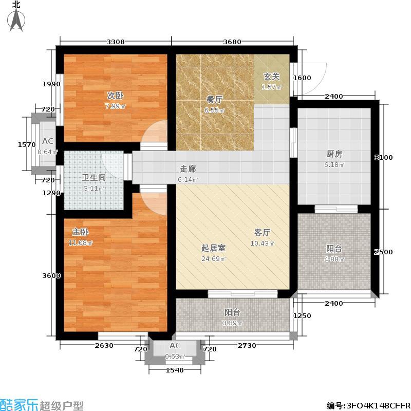 汉城湖畔84.00㎡F平面户型2室2厅