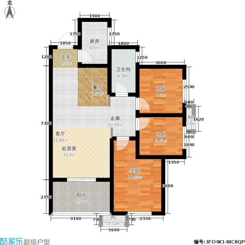 汉城湖畔109.00㎡G平面户型3室2厅