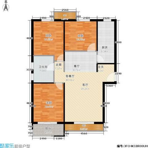 惠腾公寓3室1厅1卫1厨120.00㎡户型图