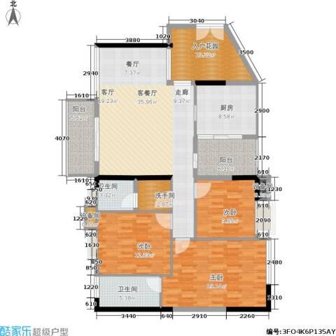 岭南雅苑3室1厅2卫1厨136.00㎡户型图
