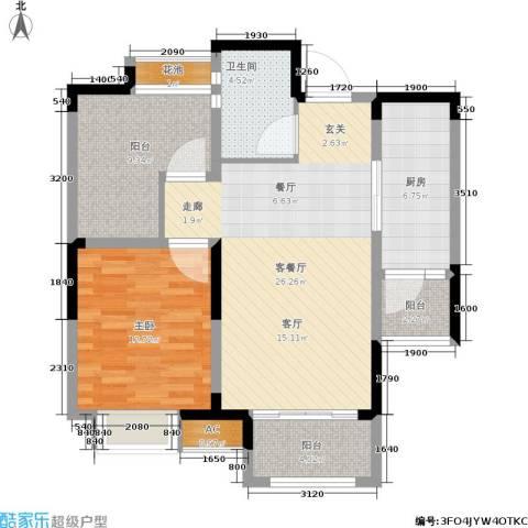 鑫苑湖居世家1室1厅1卫1厨77.00㎡户型图