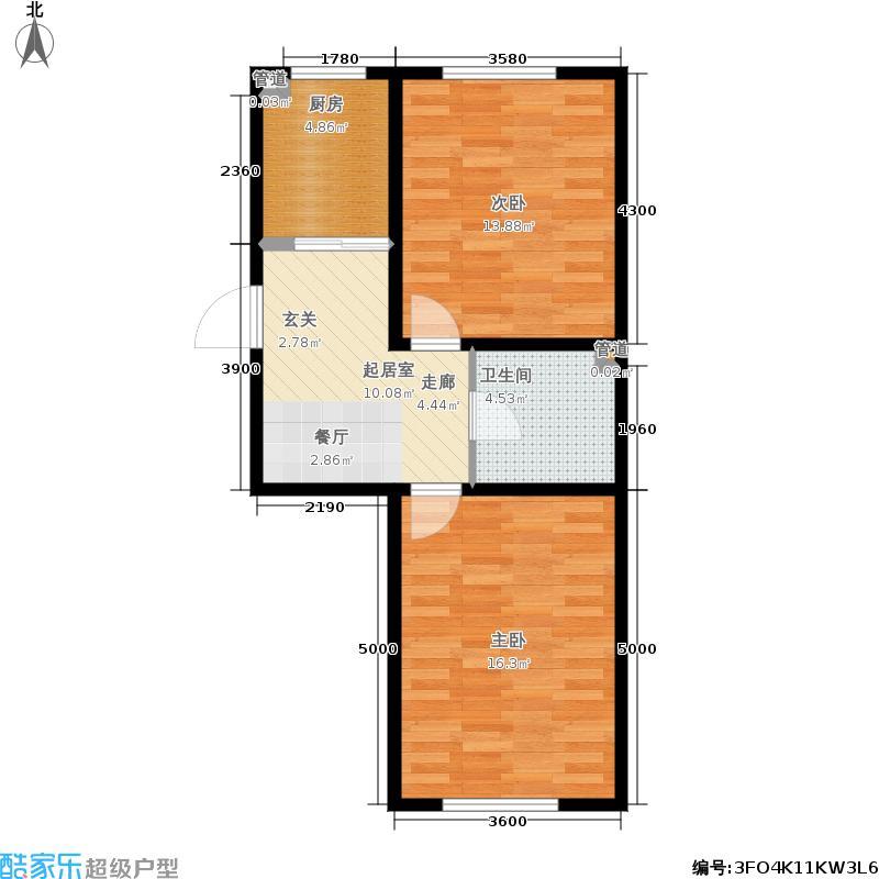 盛阳华苑70.12㎡F户型2室2厅