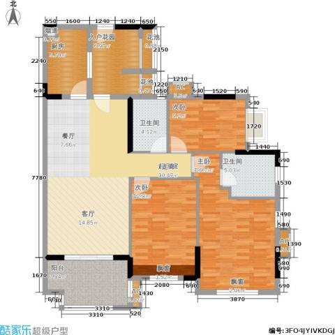 万科云山3室0厅2卫1厨126.00㎡户型图