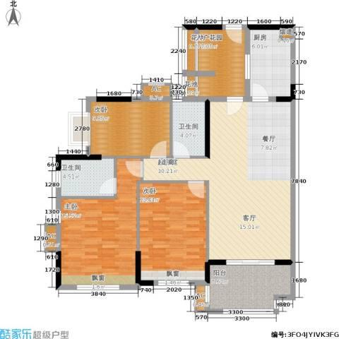 万科云山3室0厅2卫1厨123.00㎡户型图