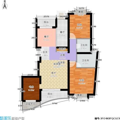 金桥爱建园2室1厅2卫0厨103.00㎡户型图
