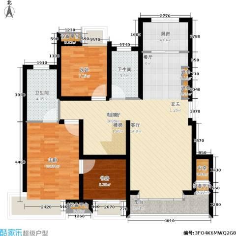 蓝天小区3室1厅2卫1厨182.00㎡户型图
