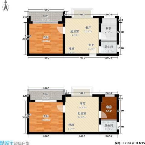 张家围17号花园3室0厅2卫1厨111.00㎡户型图