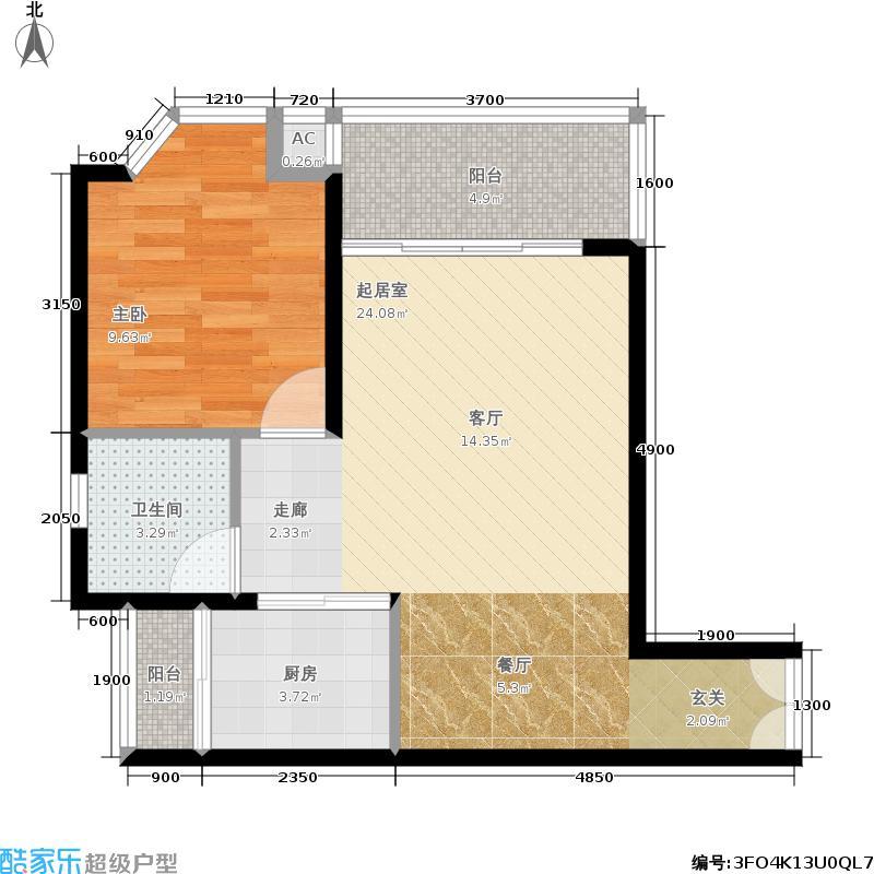 御水南岸61.00㎡户型1室2厅