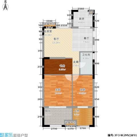 绿城桃源小镇2室0厅1卫1厨90.00㎡户型图