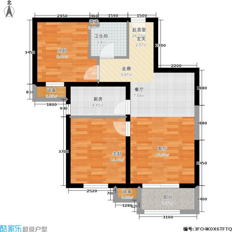 金隅汇景苑86.00㎡12-15号楼中间户B-3户型2室2厅