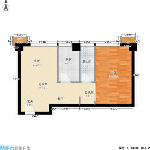 旺角花园1室0厅1卫1厨49.00㎡户型图
