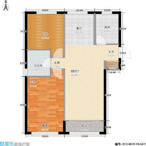 通州万达广场2室1厅1卫1厨101.00㎡户型图