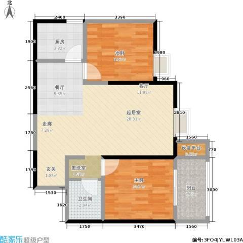 新福兴・面孔公社2室0厅1卫1厨77.00㎡户型图