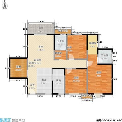 新福兴・面孔公社3室0厅2卫1厨124.00㎡户型图