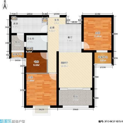 建滔裕花园3室1厅1卫1厨94.00㎡户型图