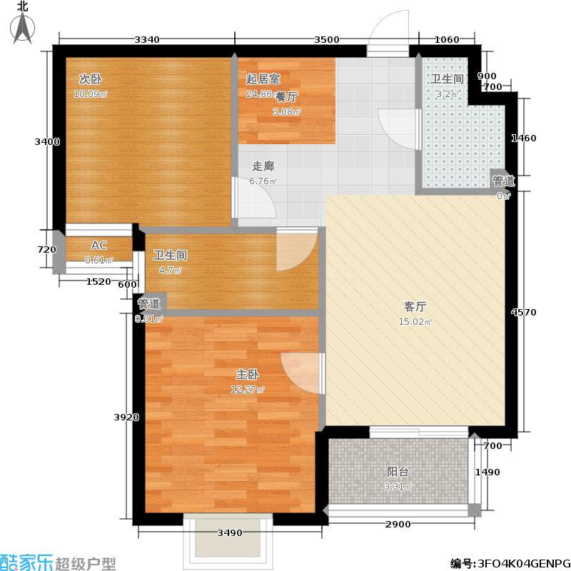 第三区·观邸88.00㎡第三区・观邸二期1号楼F2户型