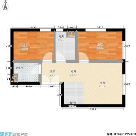 东北角艺术公寓2室0厅1卫1厨77.00㎡户型图