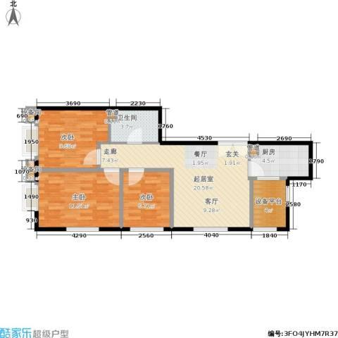 东北角艺术公寓3室0厅1卫1厨102.00㎡户型图