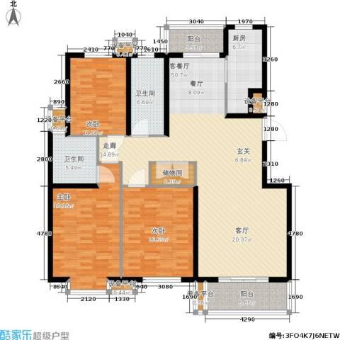 维多利金色华府3室1厅2卫1厨184.00㎡户型图