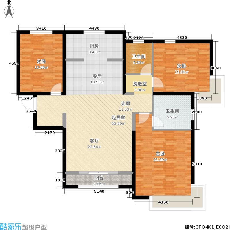 雅仕兰庭135.00㎡高层E2户型3室2厅