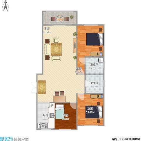 塞上江南3室1厅2卫1厨133.00㎡户型图