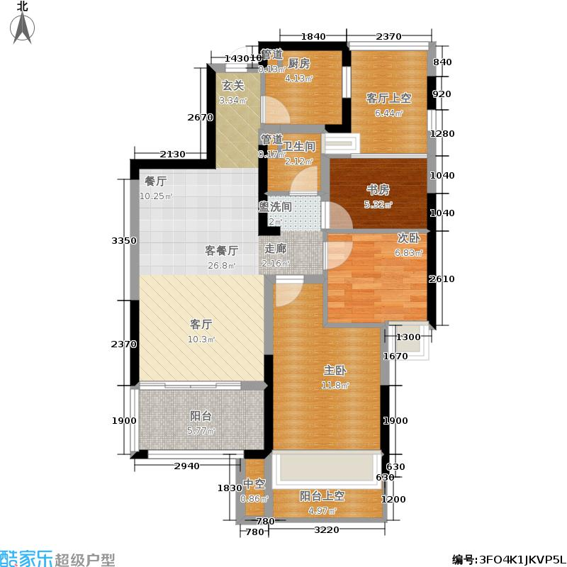 中旅紫金名门88.00㎡D户型3室2厅