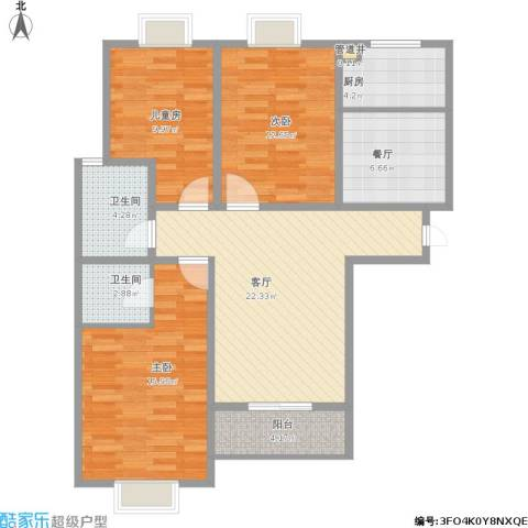 银河花园3室2厅2卫1厨118.00㎡户型图