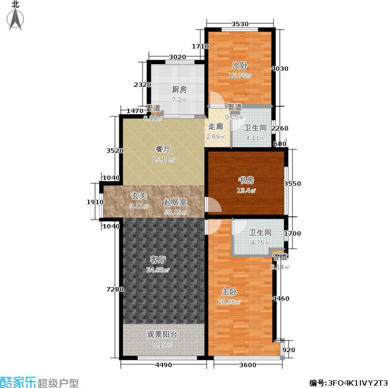 奥北公元133.00㎡二期9号楼D户型3室2厅