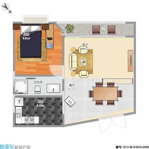 皓月花园1室1厅1卫1厨59.00㎡户型图