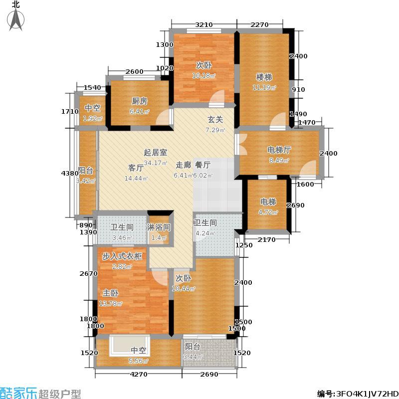 宝嘉誉峰117.00㎡F户型3室2厅