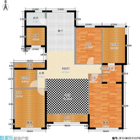 通州万达广场3室1厅2卫1厨163.00㎡户型图