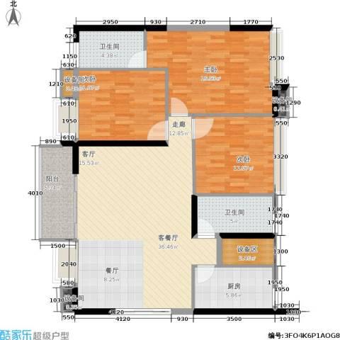 岭南雅苑3室1厅2卫1厨134.00㎡户型图