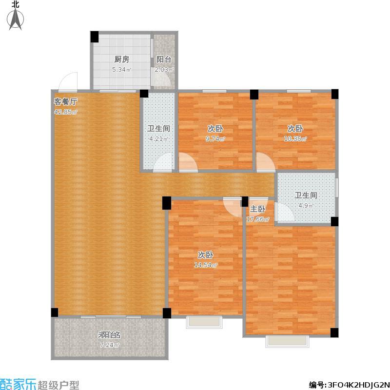 亨利玫瑰城143方C1户型四室两厅(1)