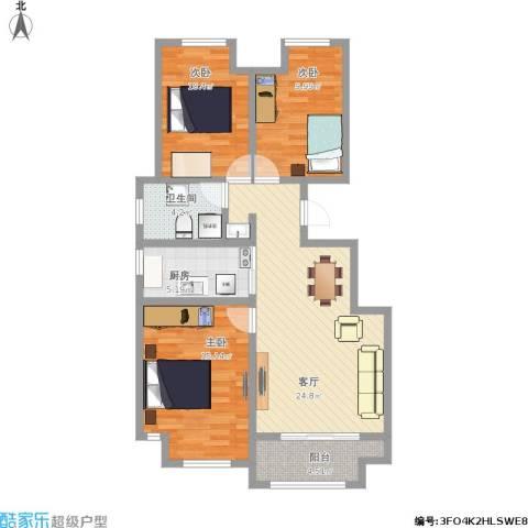 塞纳荣府别墅3室1厅1卫1厨107.00㎡户型图
