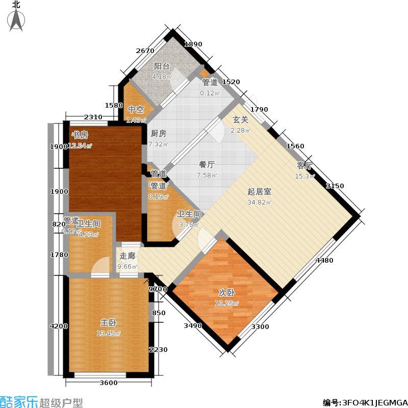 中粮大道140.00㎡高层标准层C户型3室2厅