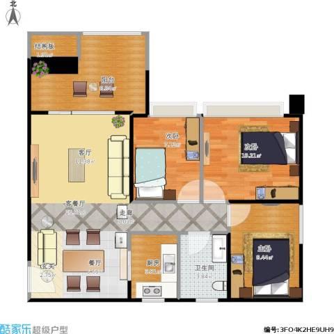 DADA的草地3室1厅1卫1厨96.00㎡户型图