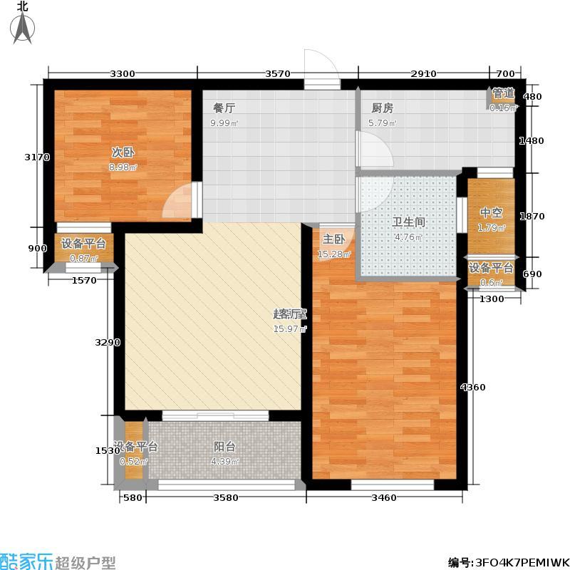 当代国际MOMA80.00㎡C3户型2室2厅1卫