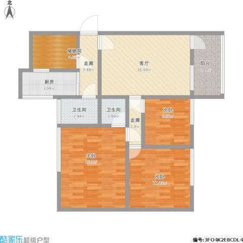 近秀花园3室1厅2卫1厨109.00㎡户型图