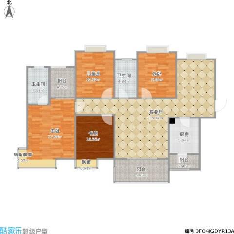 民发世界城2浪琴苑4室1厅2卫1厨153.00㎡户型图
