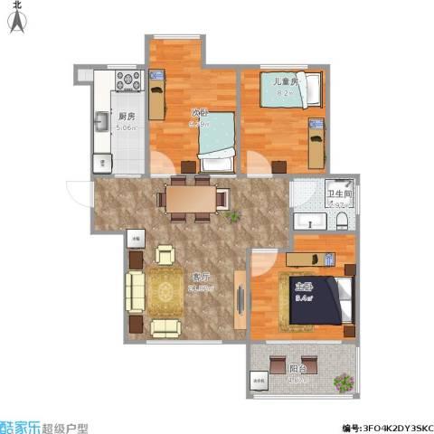 荣盛花语馨苑3室1厅1卫1厨84.00㎡户型图